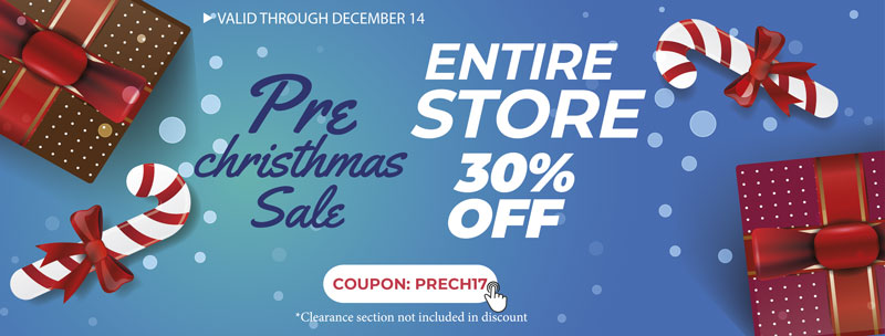 PRE CHRISTMAS SALE 2017. 30% OFF Entire Store with coupon: PRECH17